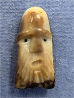 """Fossilized walrus tooth carved as man's face 2"""" ta"""
