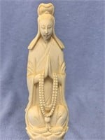 """Carved ivory figure of praying woman 6"""" tall p1246"""