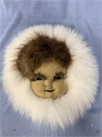 Anaktuvuk Pass mask with beaver and arctic fox 8""