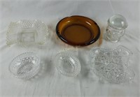 Collectible Glass Lot Ashtrays Candy Dishes & More