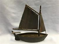 Single masted baleen ship, signed George Imergan,