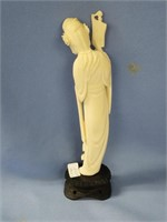 Stunning Ivory carving of a Japanese women on a wo