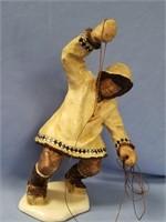 C. Allen Johnson figurine, native fishermen, signe