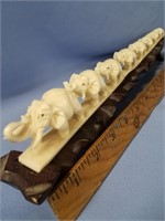 Phenomenal Ivory carving of 8 elephants in align,