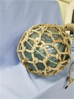 Vintage blue Japanese fishing net float, nylon net