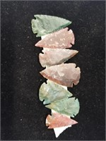 Lot of 7 modern flint arrowheads          (i99)