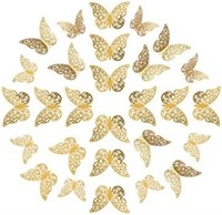 Gnognauq 72 Pieces 3D Gold Butterfly Wall Decals