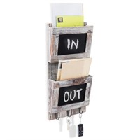 Rustic 2-Slot Mail Sorter Organizer for Wall with