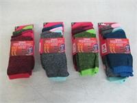 (4) 3-Pk Women's 9-11 Thermal Heated Crew Socks,