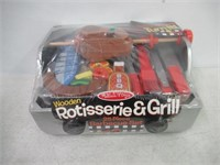 """As Is"" Melissa & Doug Wooden Rotisserie Grill 25"