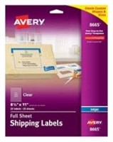 Avery Matte Frosted Clear Full Sheet Labels for
