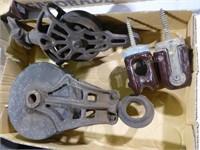 2 vintage pulleys & other