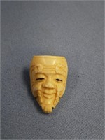 """Carved ivory mask pin, like Confucius 1.5"""" long"""