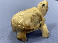 Fossilized Ivory carving of a turtle, approx. 2""