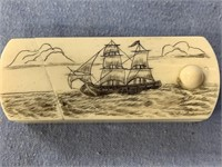Fabulous scrimmed bone tobacco box with sailing sh