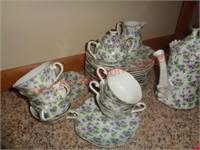 Lefton China tea set - purple flowers