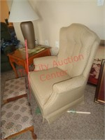 Swivel rocking accent chair and 2 ottomans
