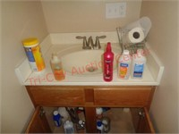 Contents of bathroom cabinet, cleaning supplies