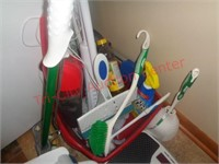 Cleaning supplies, ironing board, mops, vacume,