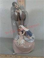 Lladro religious figurine Mary Joseph, baby Jesus