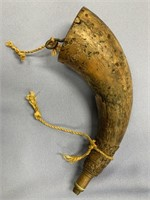 Old powder horn made from buffalo horn about 9.5""