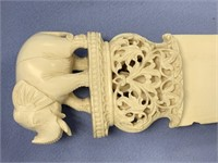 Impressive ivory knife with large carved ivory han