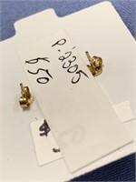 Pair of mastodon ivory earrings on 14kt gold backs