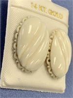 Pair of ivory earrings, with gold back p2314