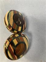 Pair of exotic wood door knobs              (P 1)