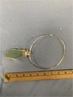 Sterling silver pendant with semi-precious gem, ag