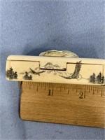 """Scrimshawed bone pill box about 2.5"""" p981"""