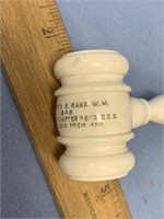 "Scrimshawed ivory gavel, about 7.25"" long"
