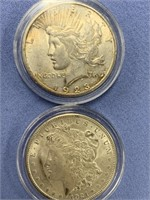 Lot of 4 silver dollars:  2 are Morgans 1921, 1921