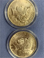 Lot of 4 Peace silver dollars  1922, 1924, 1923, 1