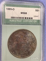 1885 Morgan silver dollar graded MS66 by NTC