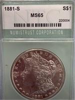 1881 S Morgan silver dollar, graded MS65 by NTC