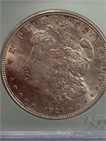 1921 Morgan silver dollar, graded MS65 by NTC