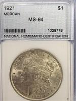 1921 Morgan silver dollar MS64 by NNC        (33)