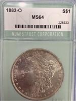 Morgan silver dollar 1883 O MS64 by NTC        (33