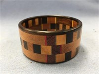 Stacked wood bracelet made from exotic hardwoods,