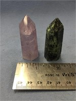 Lot of 2 tapered crystal and stone specimens  (M 6