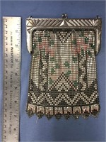 """Enamel mesh lady's purse with wrist chain about 7"""""""