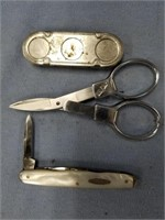 Lot of 3: scissors for sewing, 3 bladed abalone kn