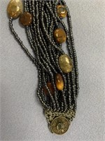 Hematite beaded bracelet with claw clasps