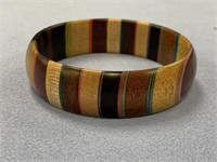 Stacked wood bangle bracelet made from exotic hard