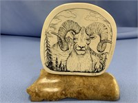 Michael Scott scrimshaw of Dahl sheep on fossilize