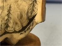 Michael Scott scrimshaw of young caribou on wood b