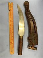 SE Asian knife with wood handle, wood sheath, over