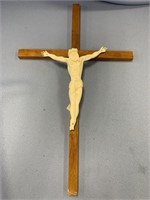 Wood Crucifix with ivory carving of Christ about 1