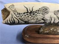 Michael Scott scrimshawed fossilized ivory tusk of